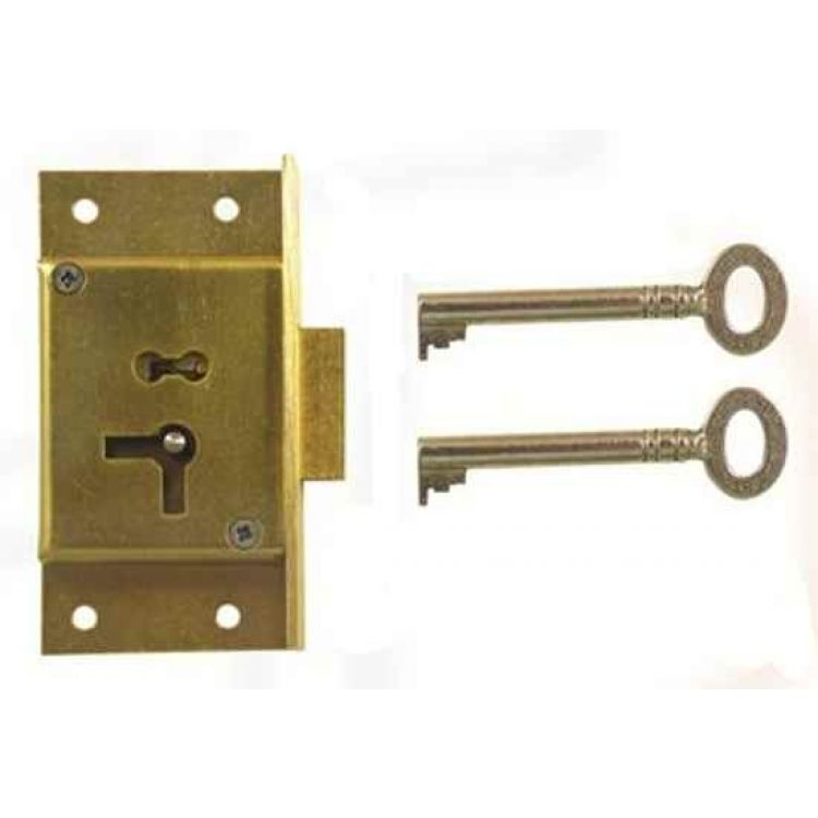 Brass 2 Lever Cut Cupboard Lock (D7)