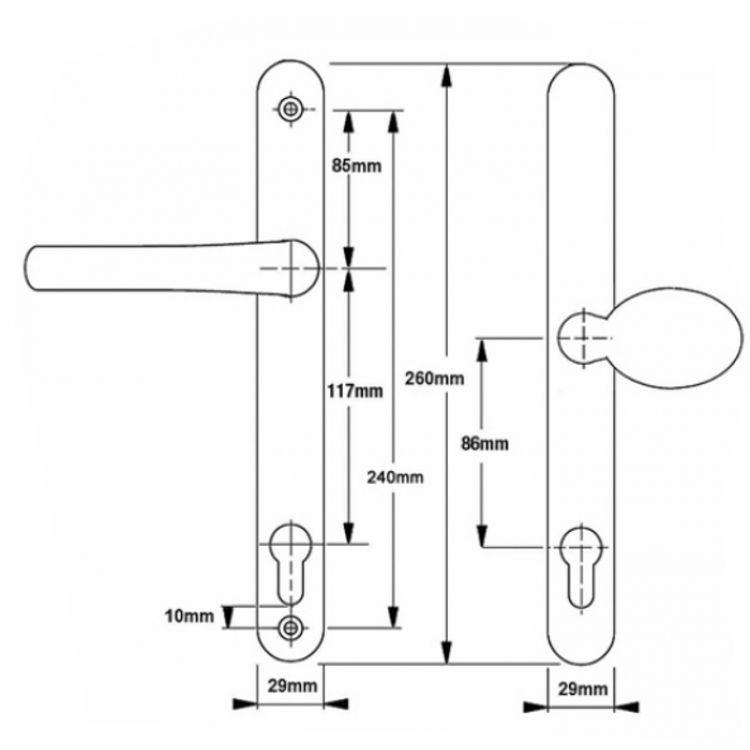 Millenco Lever Pad Upvc Door Handles 11785pz Screw Fix 240mm