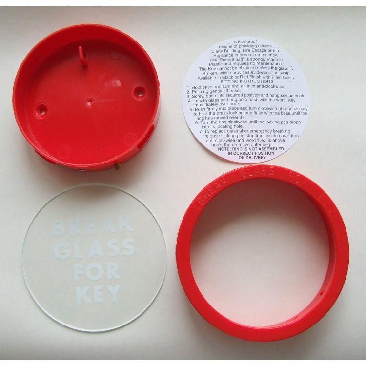 Break Glass Round Red Plastic Key Box Lockmonster Co Uk