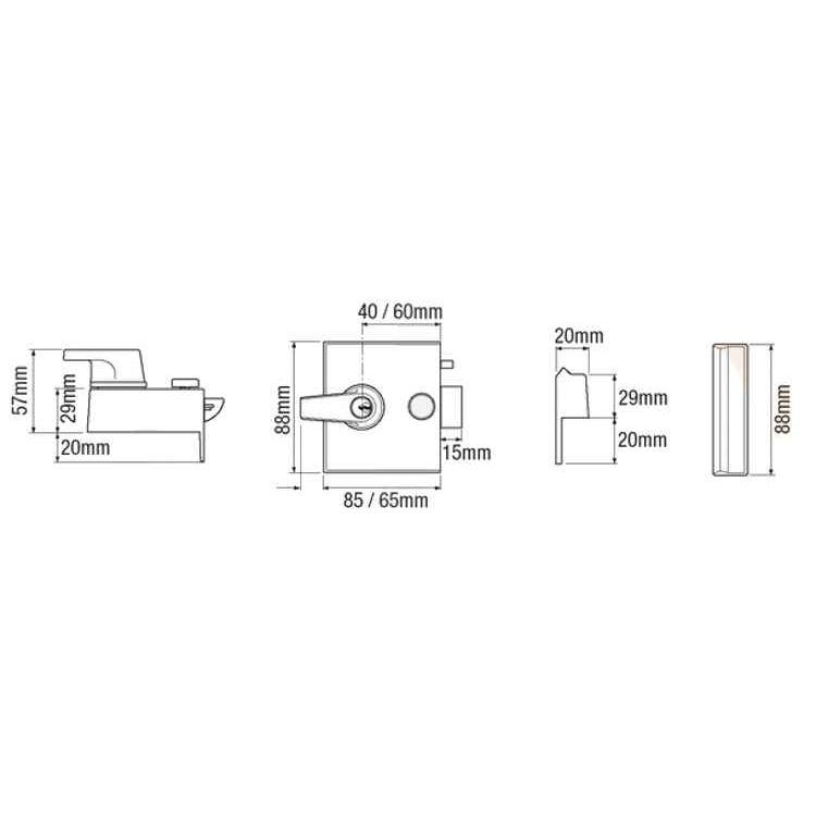 Union Cylinder Lock-Champagne Colour Case (1097 1098)