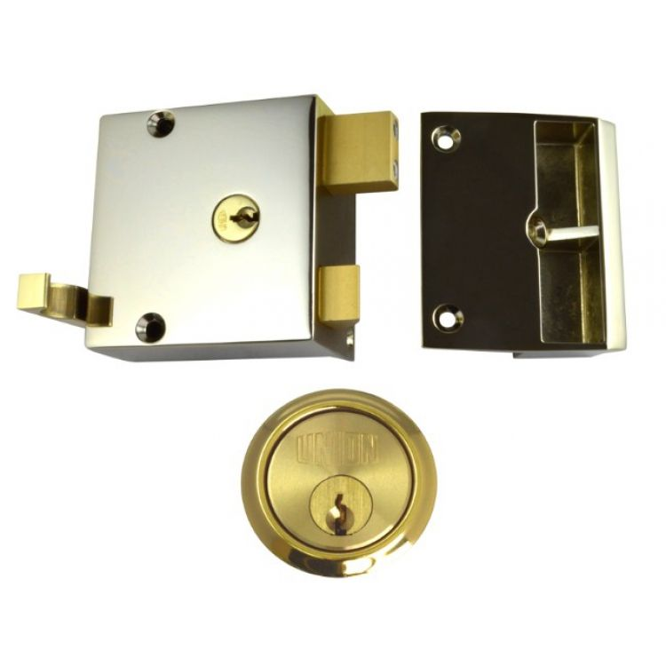 Union Cylinder Rim Drawback Lock Brass (1332 1334)