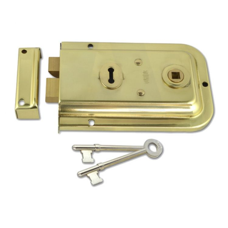 Union 2 Bolt Rim Lock 2 Keys Brass (DY1445)