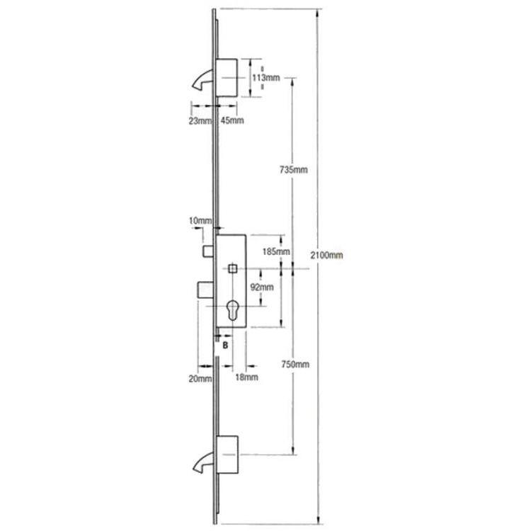 Winkhaus Multipoint Door Lock Latch Deadbolt 2 Hooks Lockmonster Co Uk