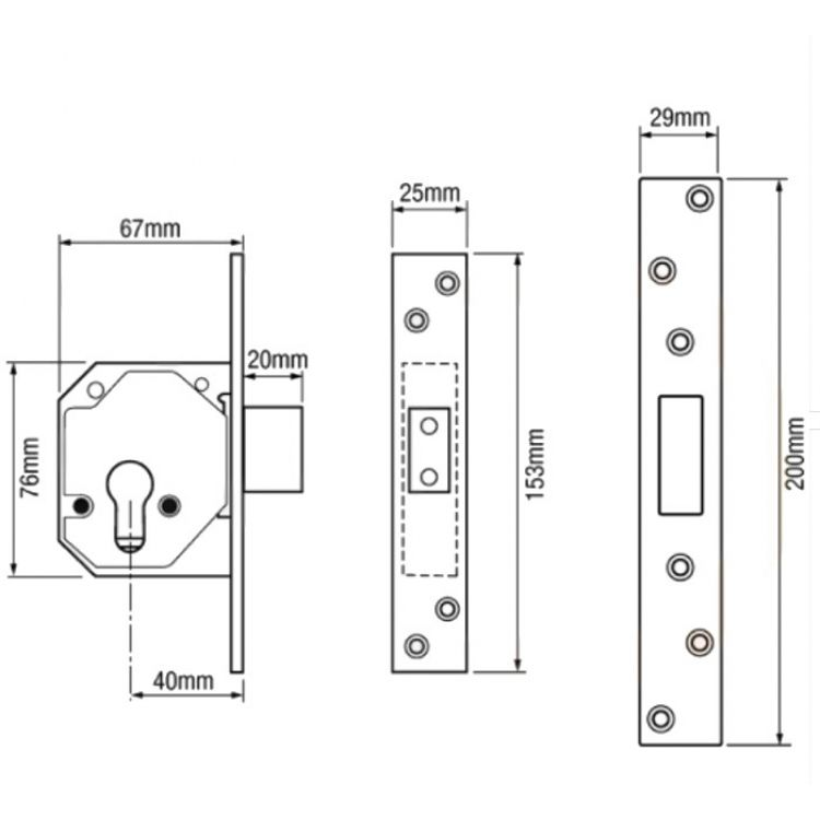 Chubb Euro Cylinder Mortice Deadlock lock Case only (3C14)