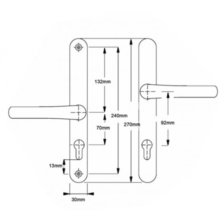 Easyfit offset upvc door Handles 92PZ out 70PZ inside 240mm screws