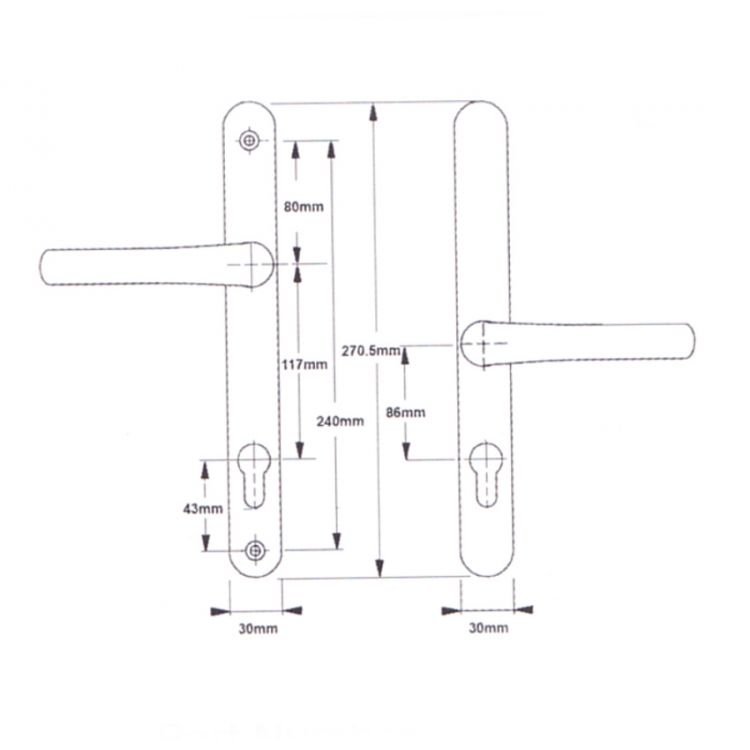 Easyfit Lever 117mm and 86mm pz Screw Centres 240mm