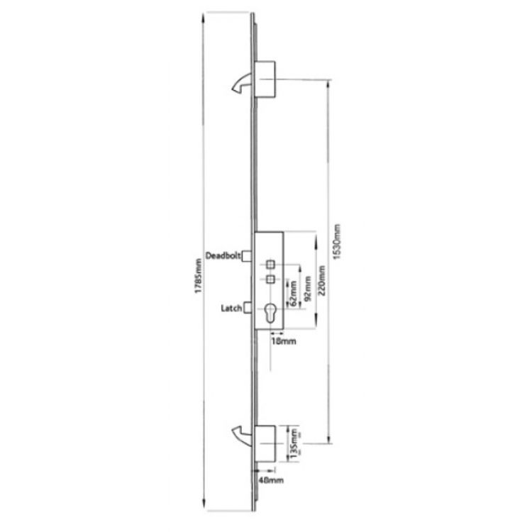 Avantis Latch Deadbolt 2 Hooks 92-62pz