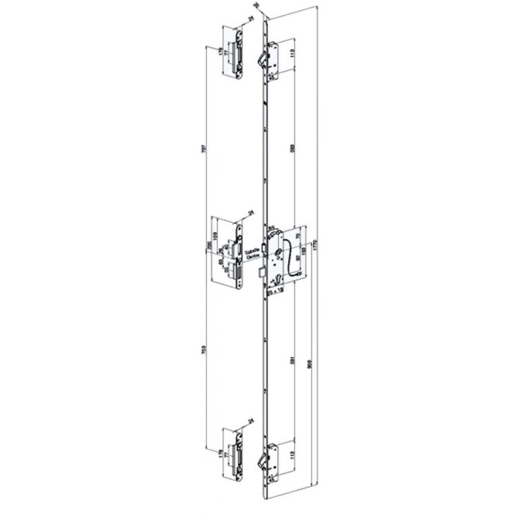 WINKHAUS blueMatic AV2-B Electric Multipoint Lock 2 Hooks