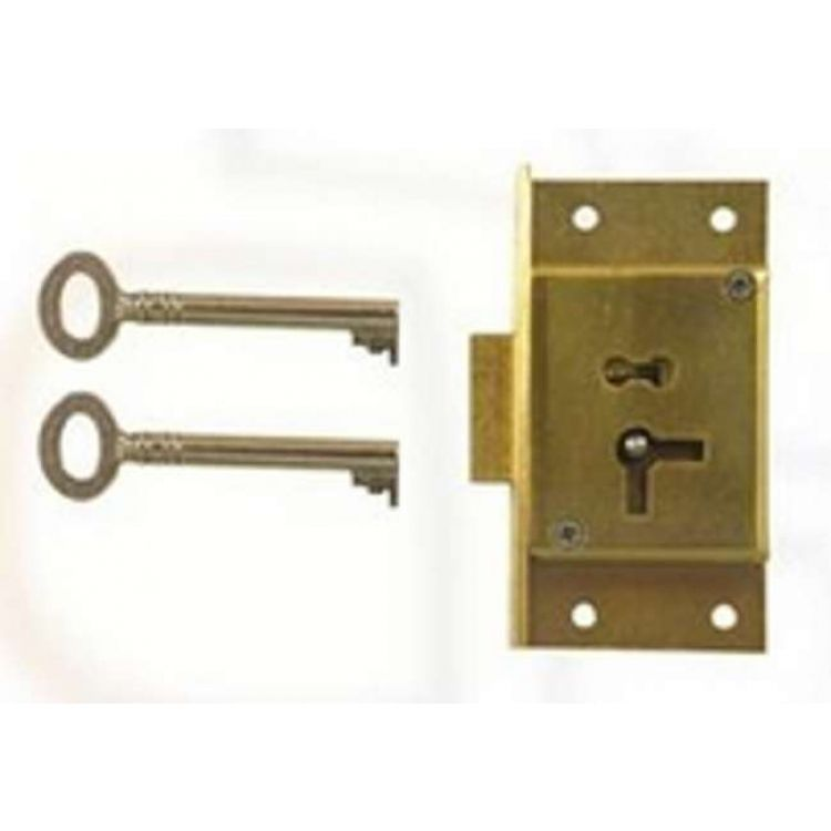 Brass Cut Cupboard 4 Lever Lock (D2)